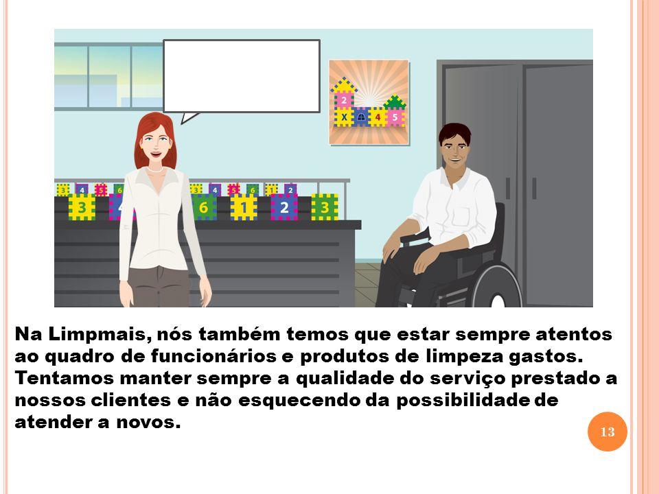 Na Limpmais, nós também temos que estar sempre atentos ao quadro de funcionários e produtos de limpeza gastos.