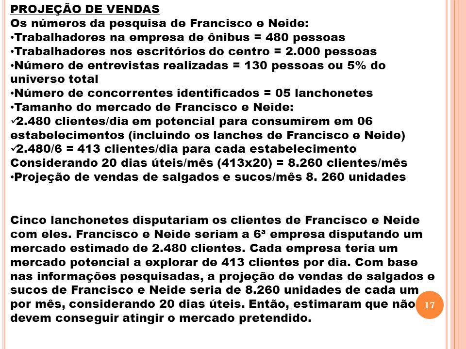PROJEÇÃO DE VENDAS Os números da pesquisa de Francisco e Neide: Trabalhadores na empresa de ônibus = 480 pessoas.