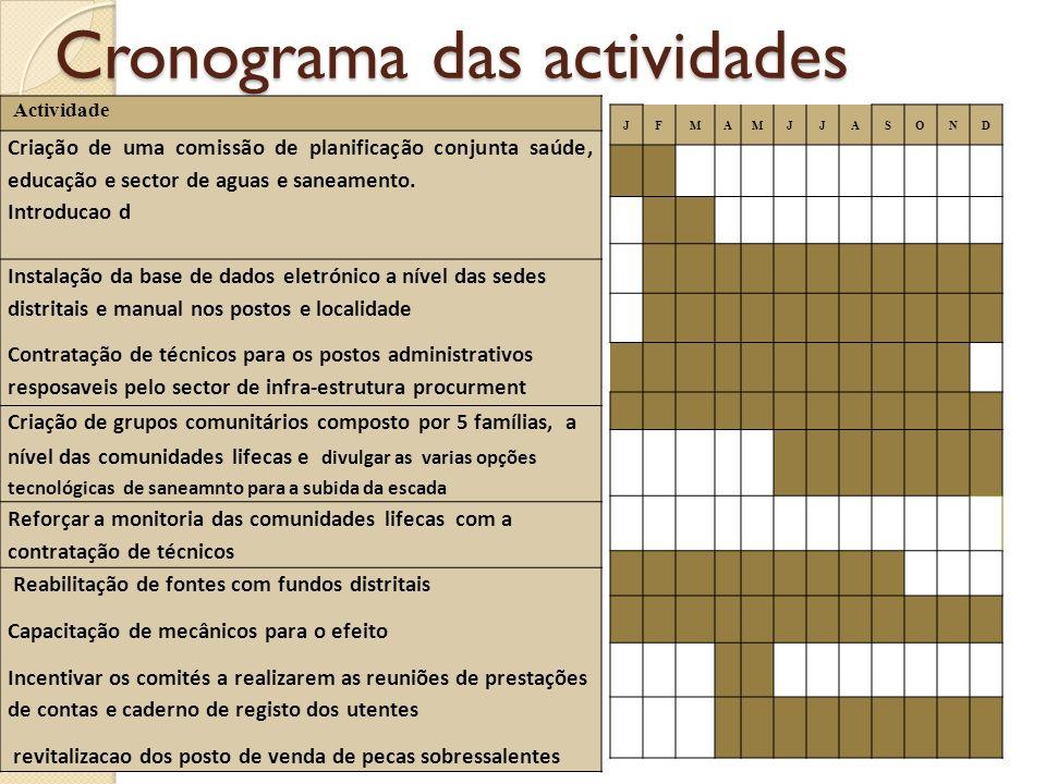 Cronograma das actividades