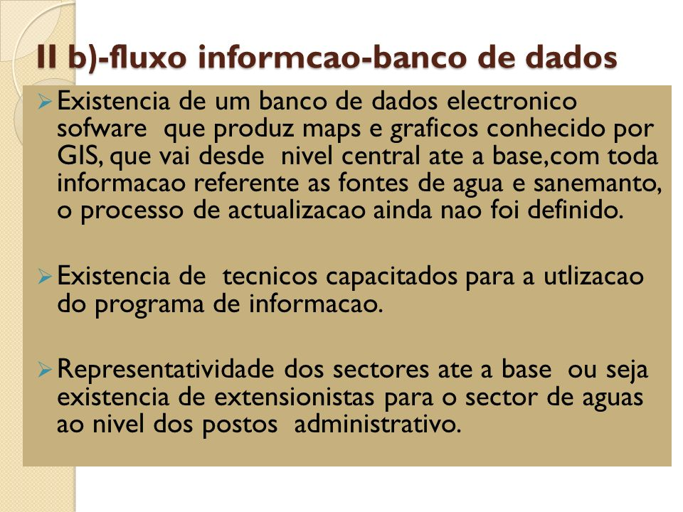 II b)-fluxo informcao-banco de dados