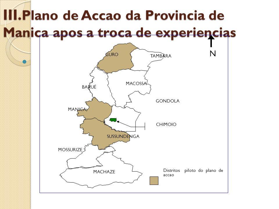 III.Plano de Accao da Provincia de Manica apos a troca de experiencias