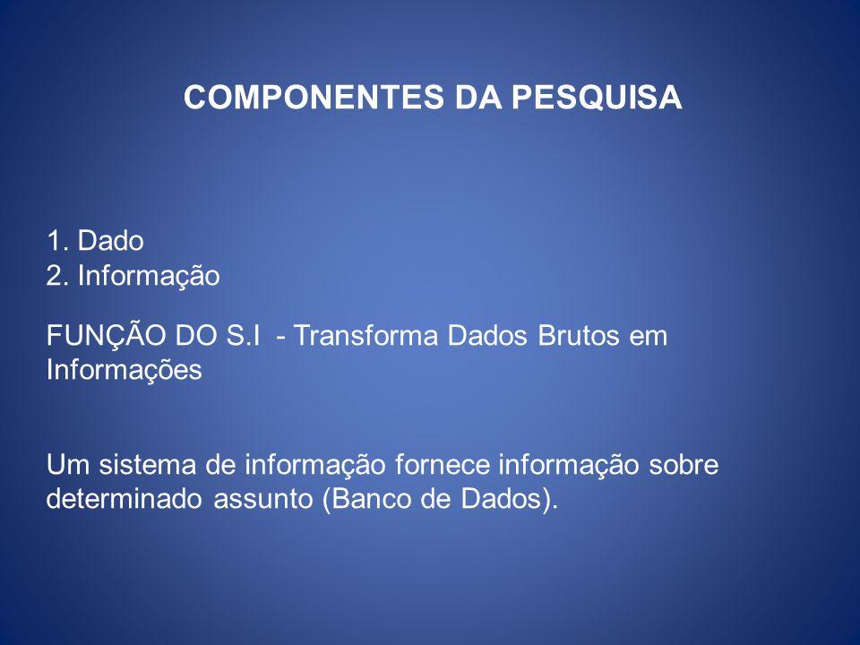 COMPONENTES DA PESQUISA