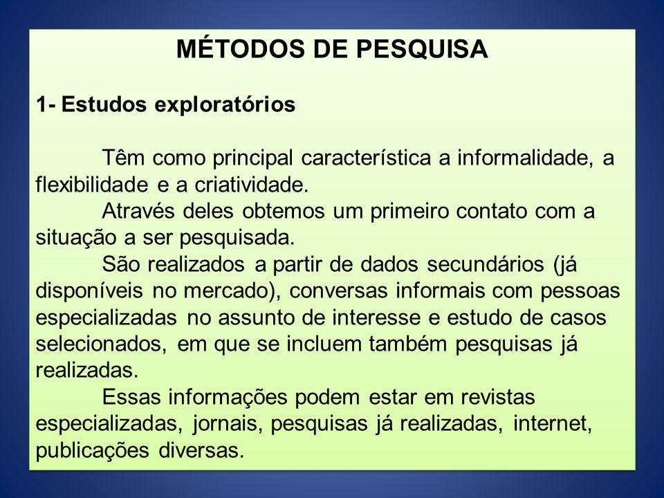 MÉTODOS DE PESQUISA 1- Estudos exploratórios