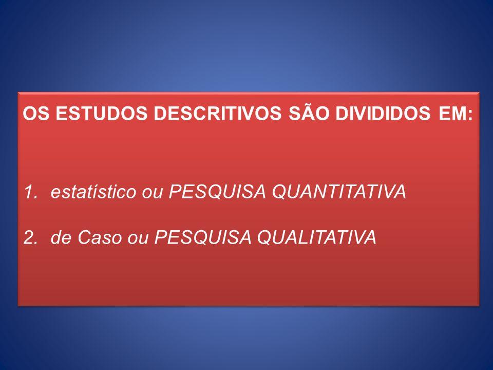 OS ESTUDOS DESCRITIVOS SÃO DIVIDIDOS EM: