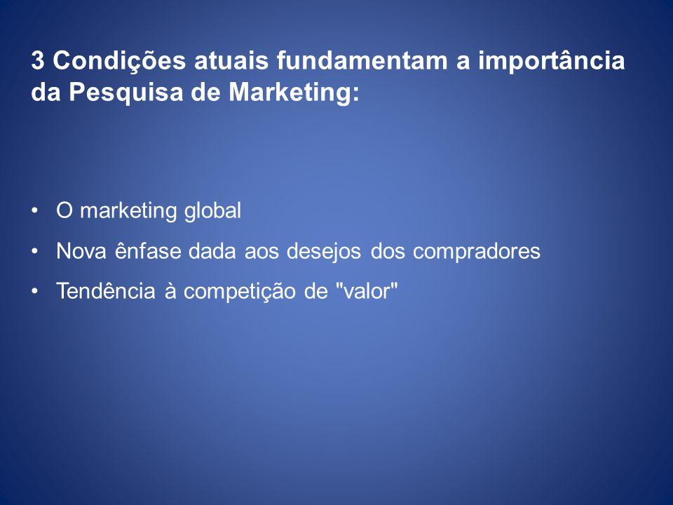 3 Condições atuais fundamentam a importância da Pesquisa de Marketing: