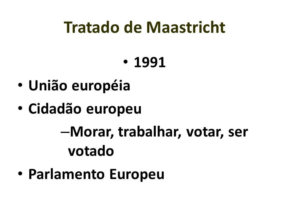 Tratado de Maastricht 1991 União européia Cidadão europeu