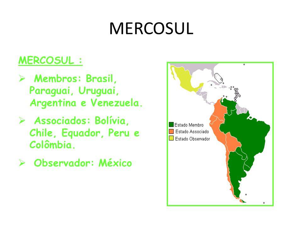 MERCOSUL MERCOSUL : Membros: Brasil, Paraguai, Uruguai, Argentina e Venezuela. Associados: Bolívia, Chile, Equador, Peru e Colômbia.