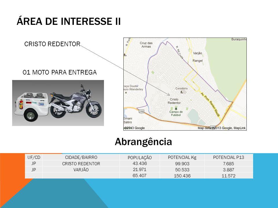 ÁREA DE INTERESSE II Abrangência CRISTO REDENTOR 01 MOTO PARA ENTREGA