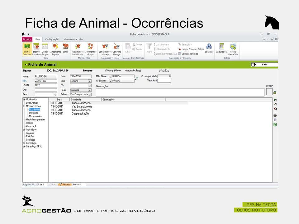 Ficha de Animal - Ocorrências