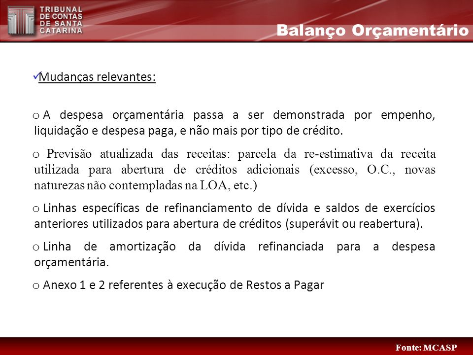 Balanço Orçamentário Mudanças relevantes: