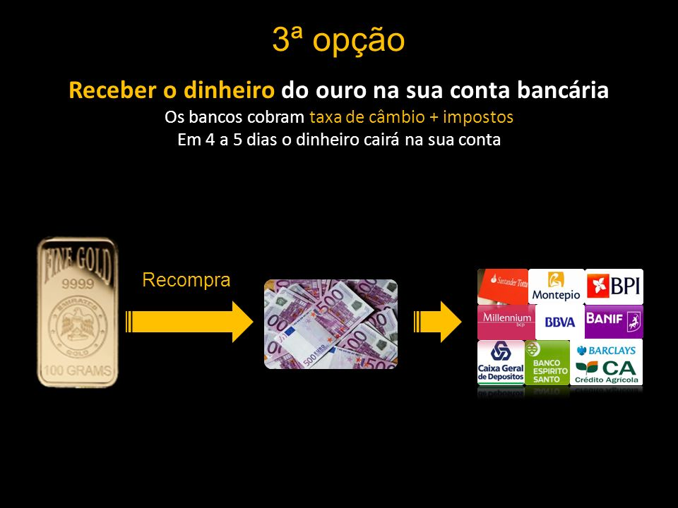 Receber o dinheiro do ouro na sua conta bancária