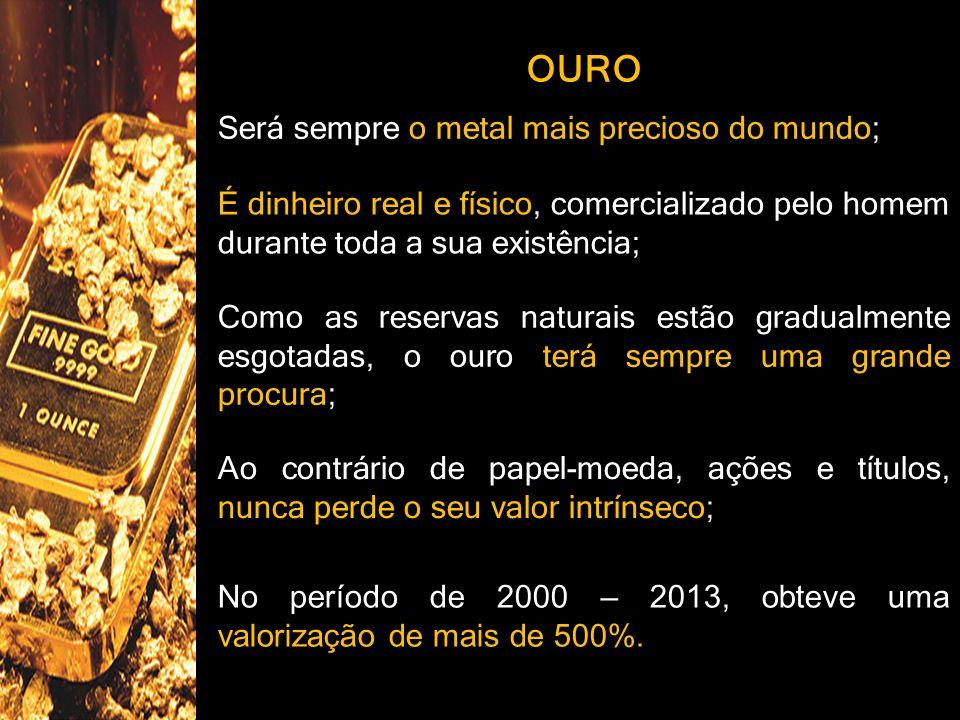 OURO Será sempre o metal mais precioso do mundo;