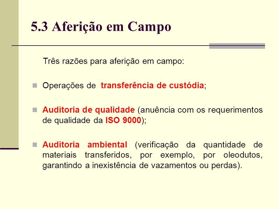 5.3 Aferição em Campo Três razões para aferição em campo: