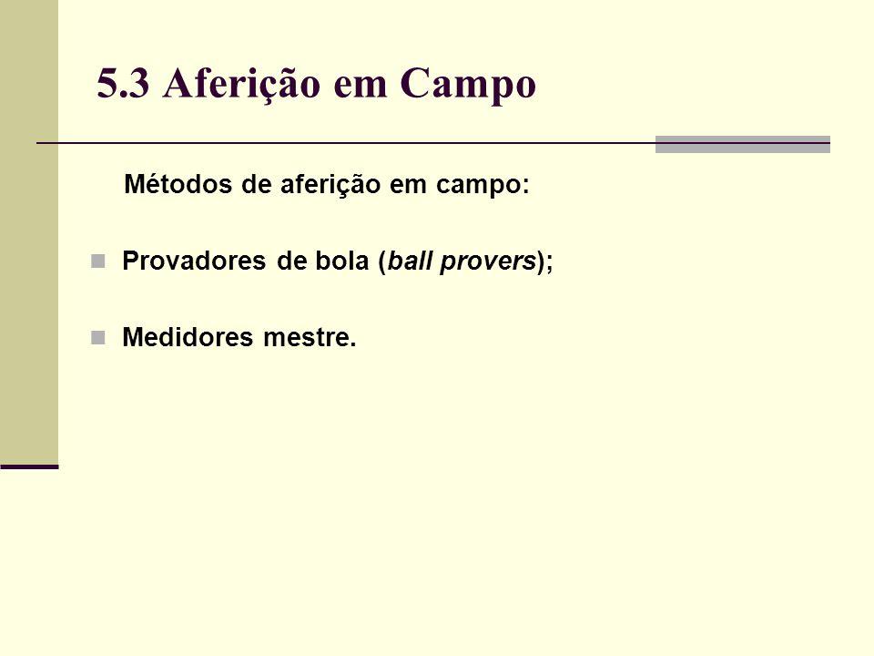 5.3 Aferição em Campo Métodos de aferição em campo: