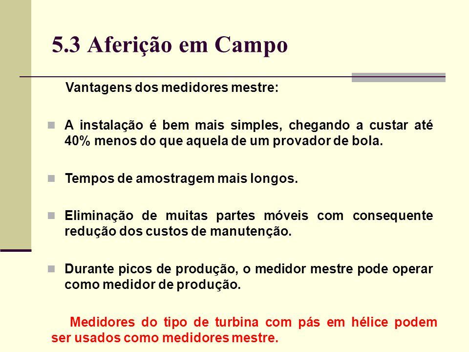 5.3 Aferição em Campo Vantagens dos medidores mestre: