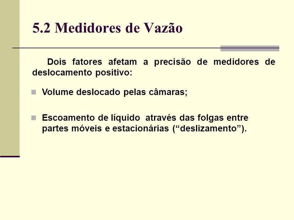 5.2 Medidores de Vazão Dois fatores afetam a precisão de medidores de deslocamento positivo: Volume deslocado pelas câmaras;