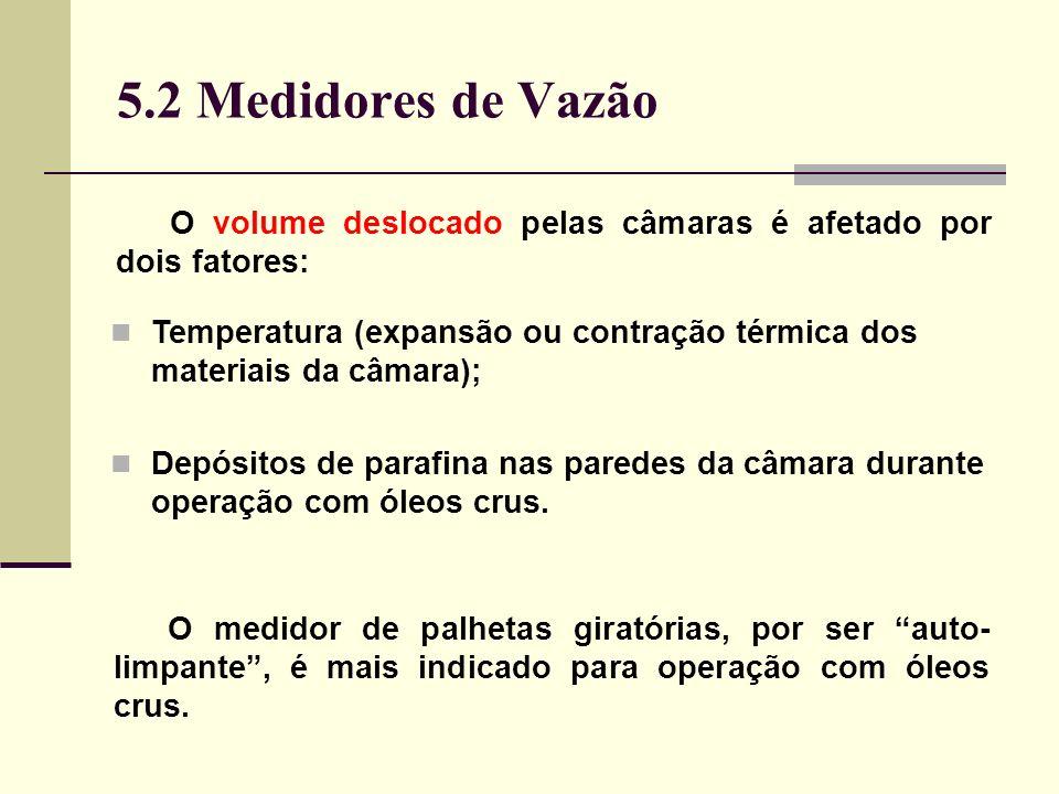 5.2 Medidores de Vazão O volume deslocado pelas câmaras é afetado por dois fatores: