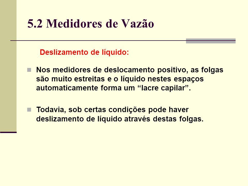 5.2 Medidores de Vazão Deslizamento de líquido: