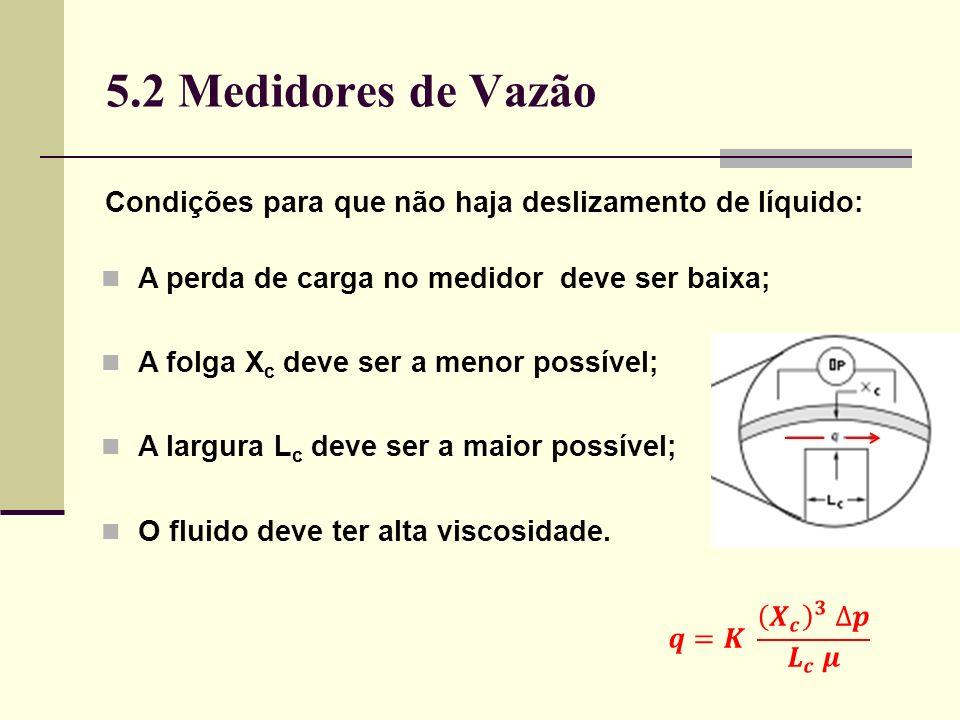 5.2 Medidores de Vazão Condições para que não haja deslizamento de líquido: A perda de carga no medidor deve ser baixa;