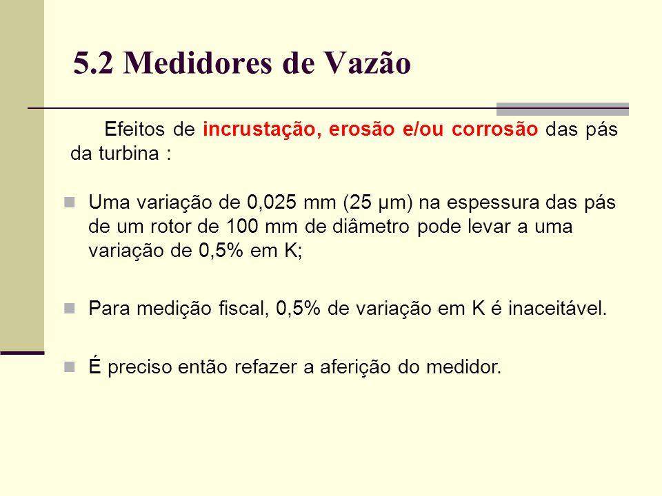 5.2 Medidores de Vazão Efeitos de incrustação, erosão e/ou corrosão das pás da turbina :