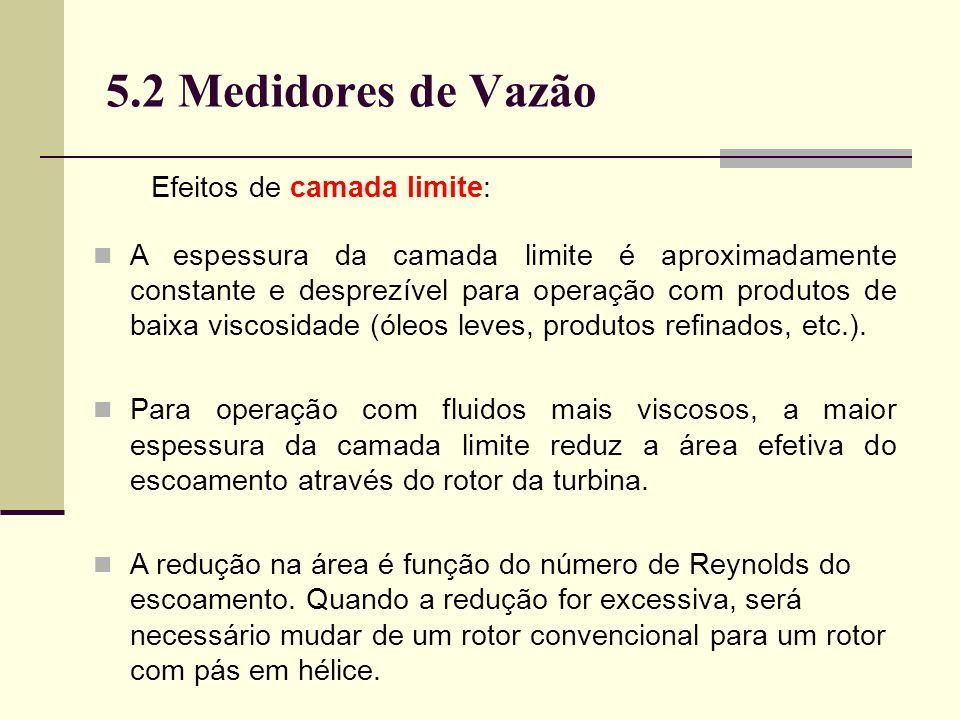 5.2 Medidores de Vazão Efeitos de camada limite: