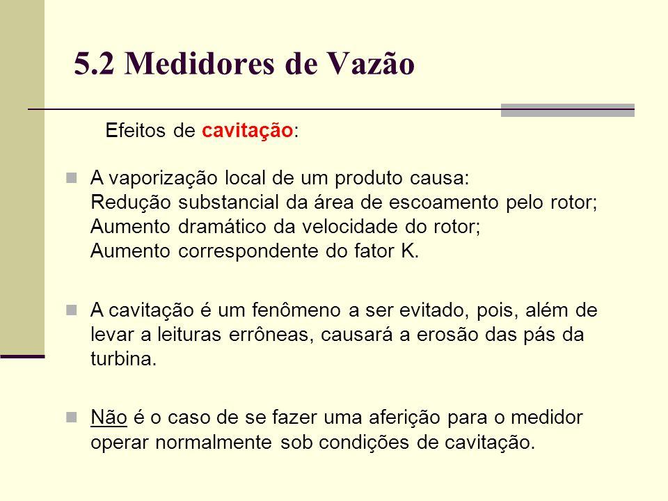 5.2 Medidores de Vazão Efeitos de cavitação: