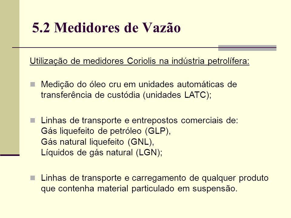 5.2 Medidores de Vazão Utilização de medidores Coriolis na indústria petrolífera: