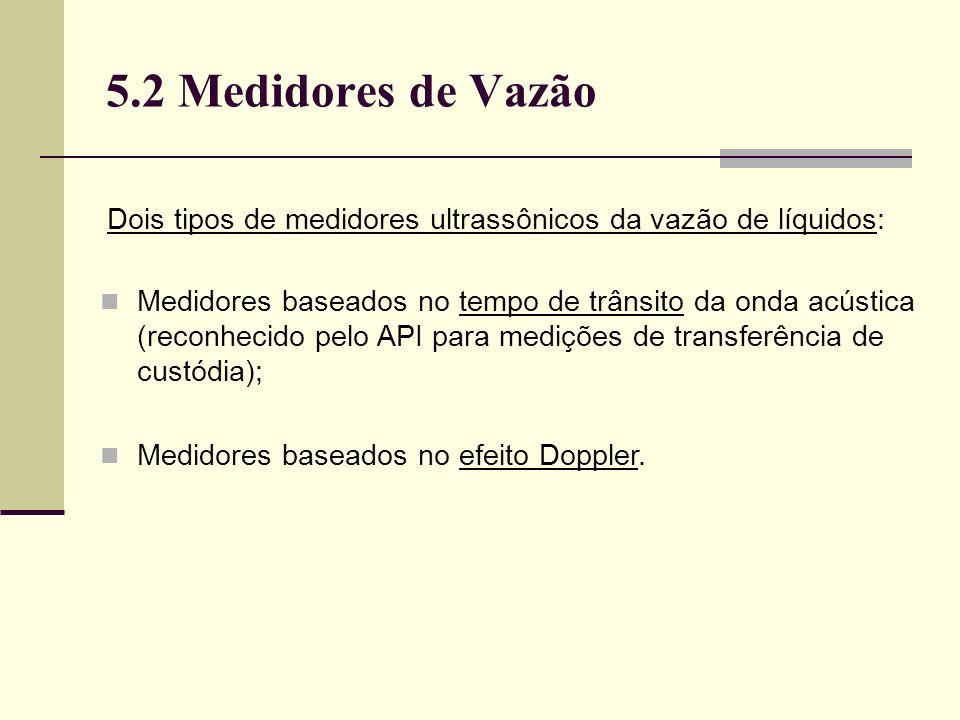 5.2 Medidores de Vazão Dois tipos de medidores ultrassônicos da vazão de líquidos: