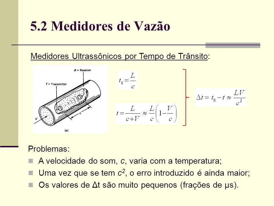 5.2 Medidores de Vazão Medidores Ultrassônicos por Tempo de Trânsito:
