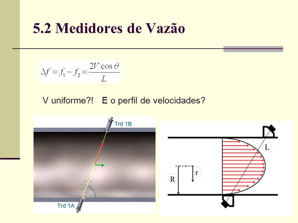 5.2 Medidores de Vazão V uniforme ! E o perfil de velocidades