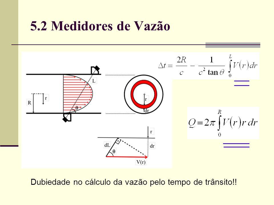 5.2 Medidores de Vazão Dubiedade no cálculo da vazão pelo tempo de trânsito!!