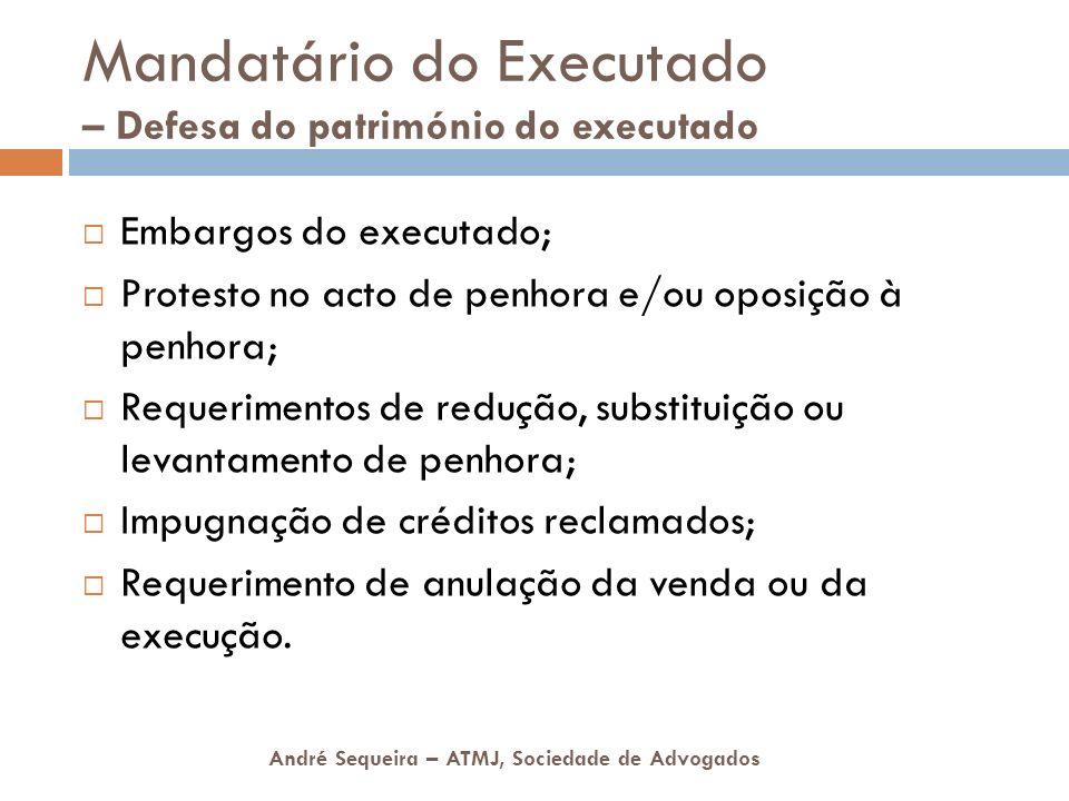 Mandatário do Executado – Defesa do património do executado