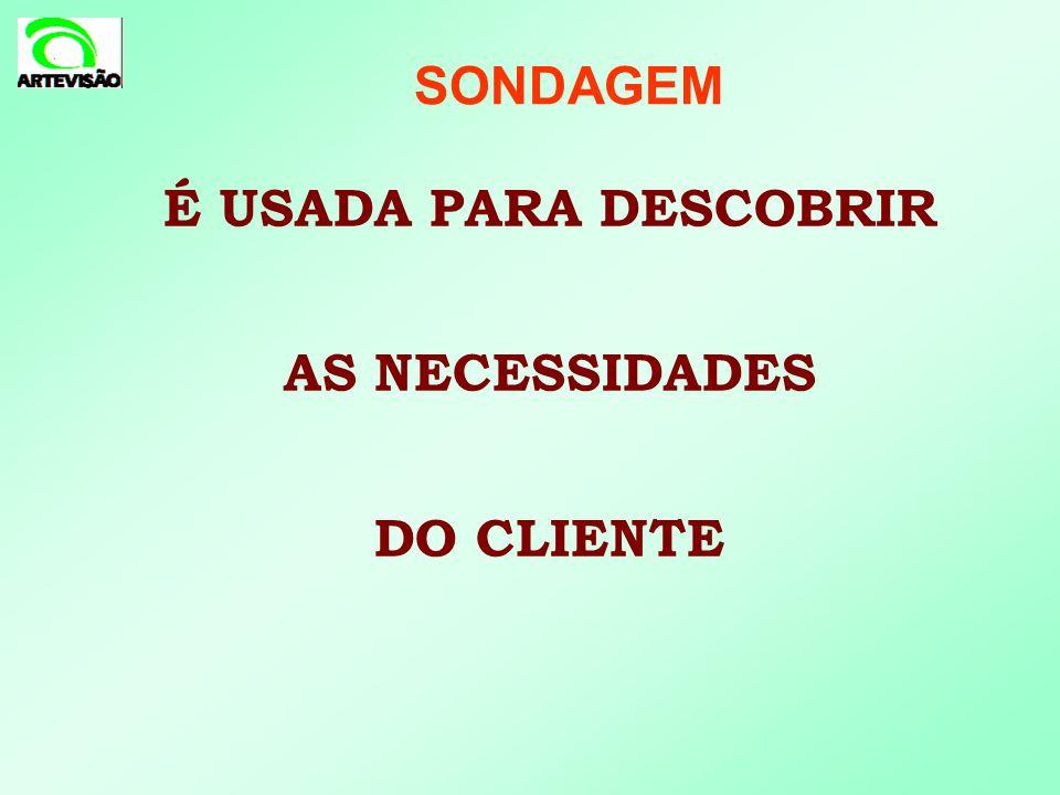 SONDAGEM É USADA PARA DESCOBRIR AS NECESSIDADES DO CLIENTE 13