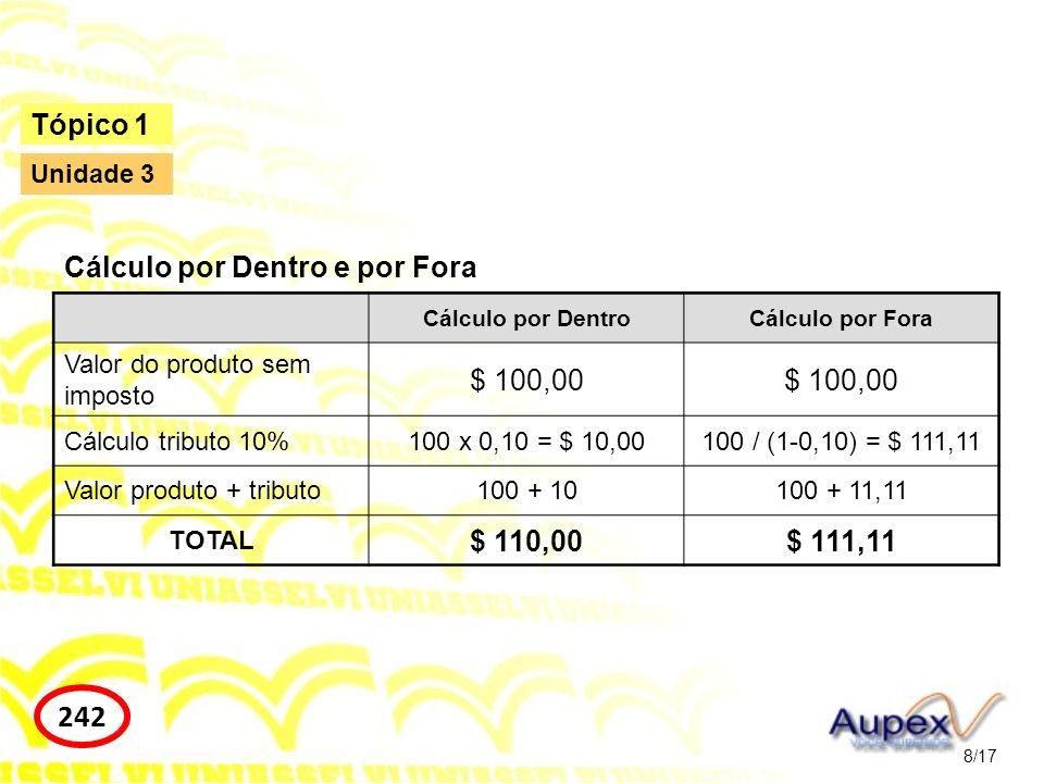 242 Tópico 1 Cálculo por Dentro e por Fora $ 100,00 $ 110,00 $ 111,11
