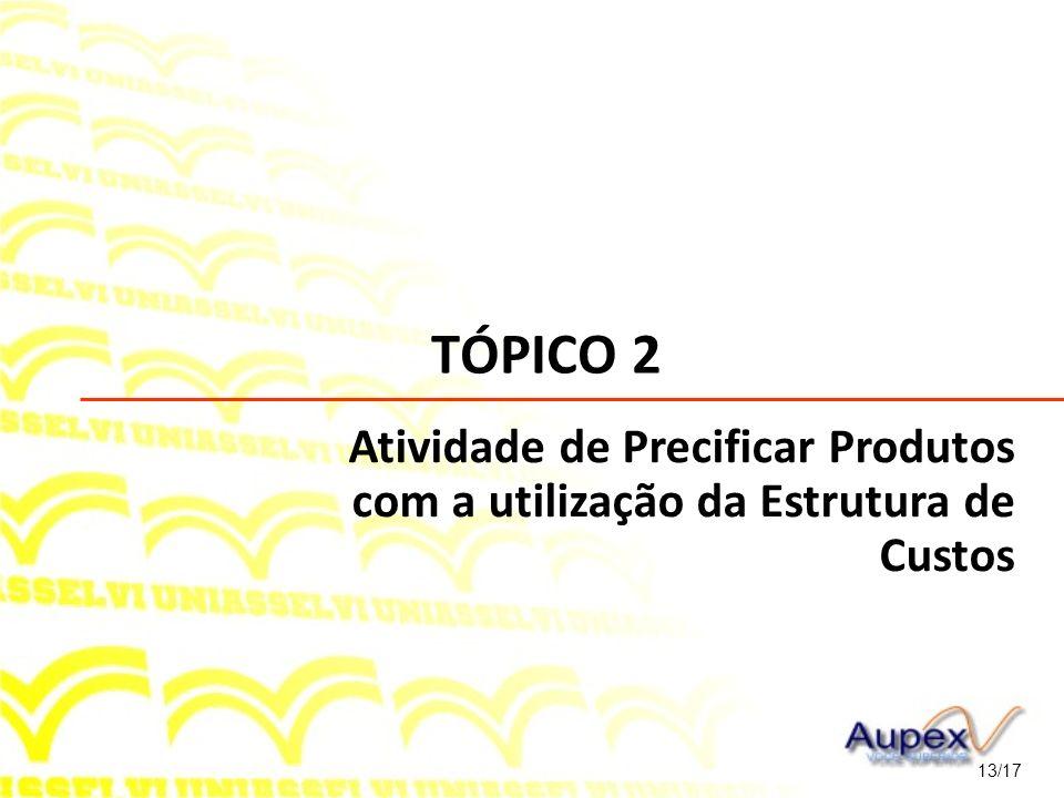 TÓPICO 2 Atividade de Precificar Produtos com a utilização da Estrutura de Custos 13/17