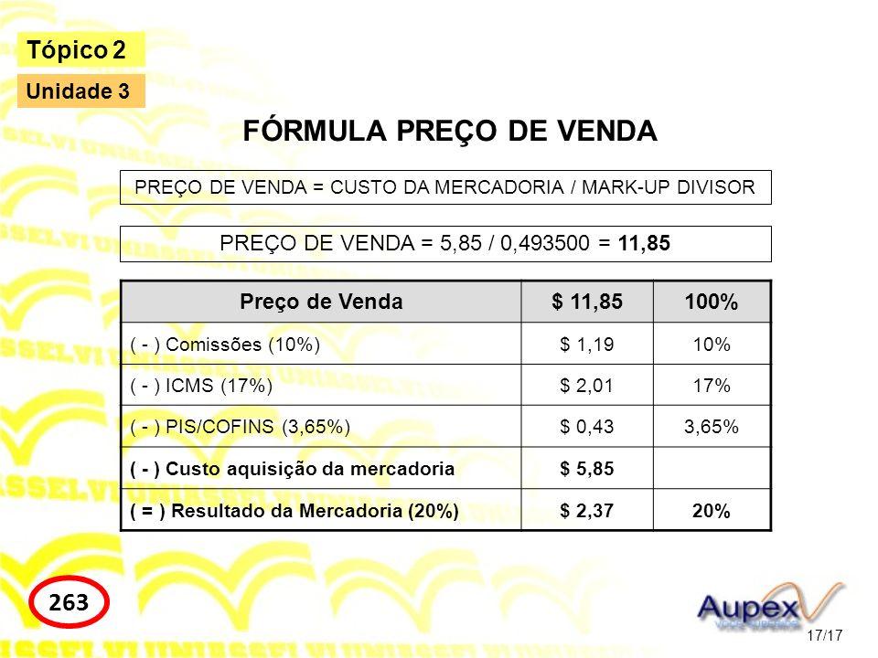 PREÇO DE VENDA = CUSTO DA MERCADORIA / MARK-UP DIVISOR