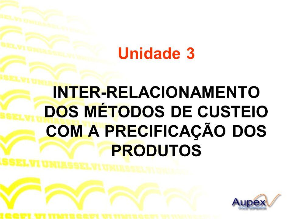 Unidade 3 INTER-RELACIONAMENTO DOS MÉTODOS DE CUSTEIO COM A PRECIFICAÇÃO DOS PRODUTOS