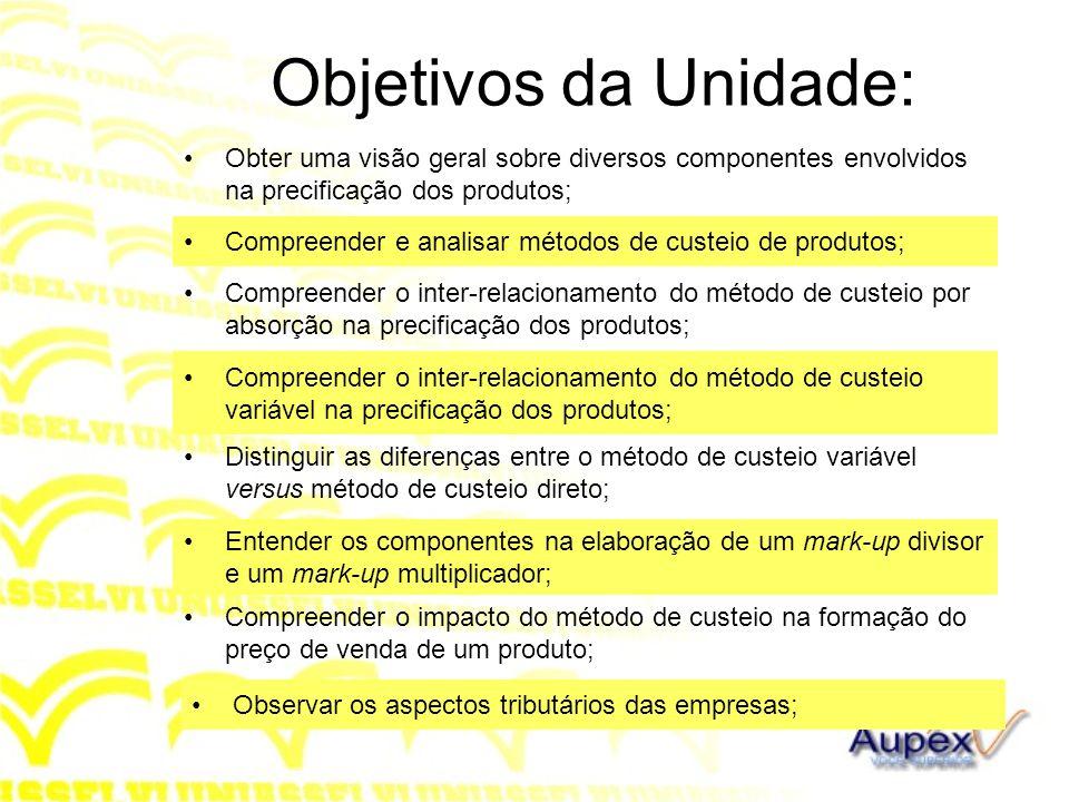 Objetivos da Unidade: Obter uma visão geral sobre diversos componentes envolvidos na precificação dos produtos;