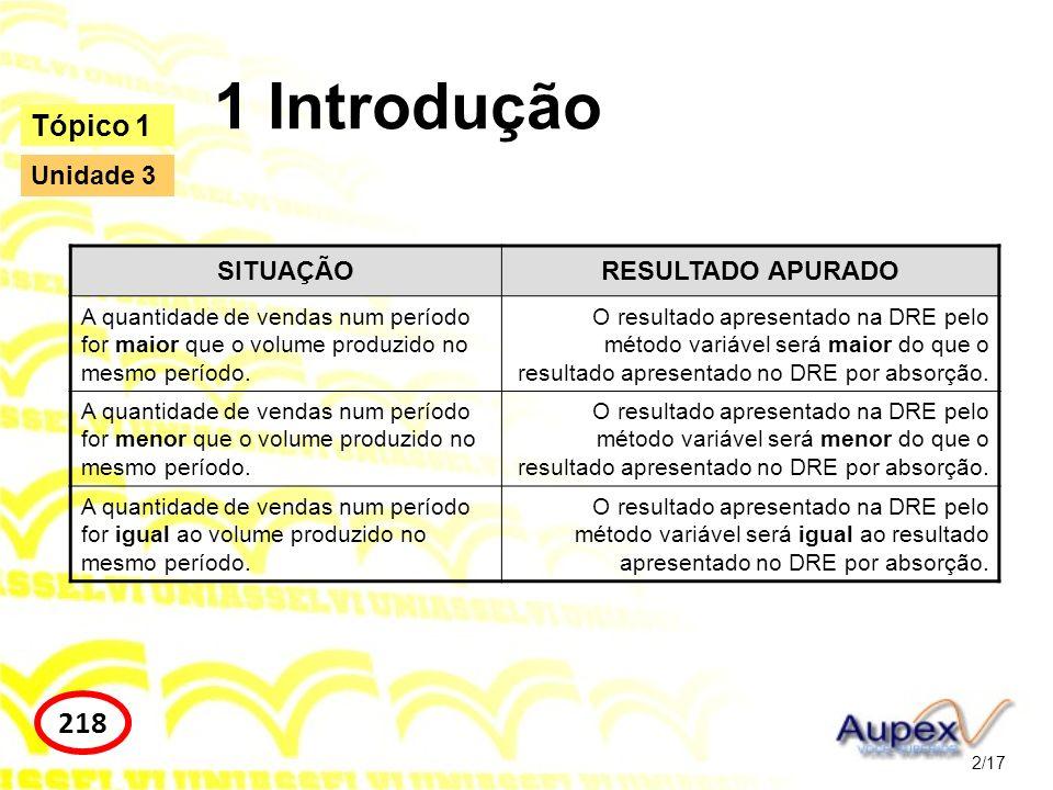1 Introdução 218 Tópico 1 Unidade 3 SITUAÇÃO RESULTADO APURADO