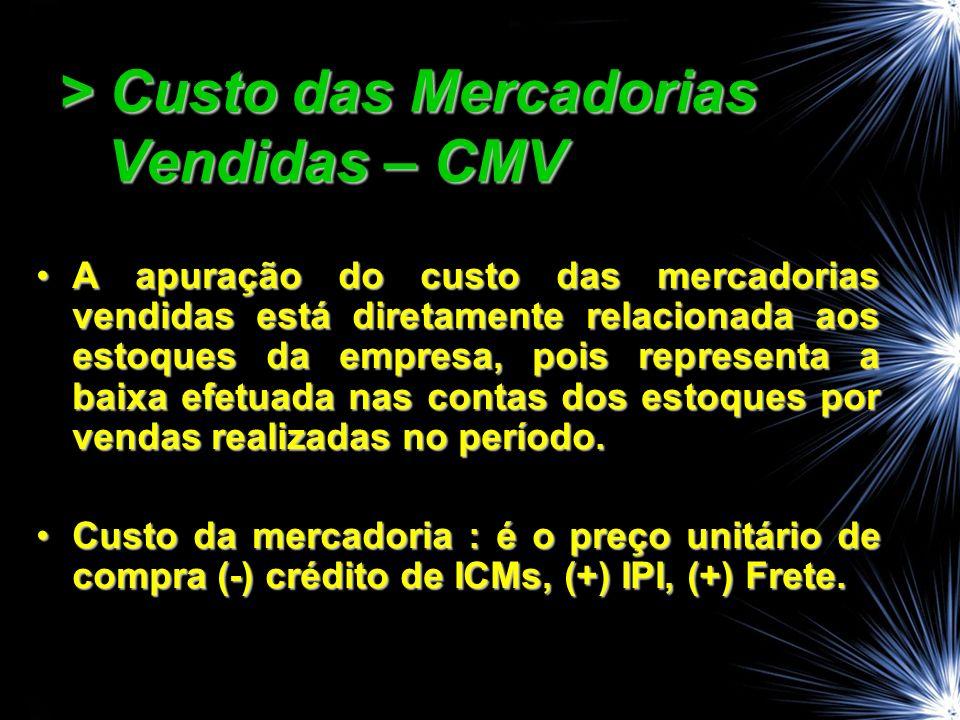 > Custo das Mercadorias Vendidas – CMV