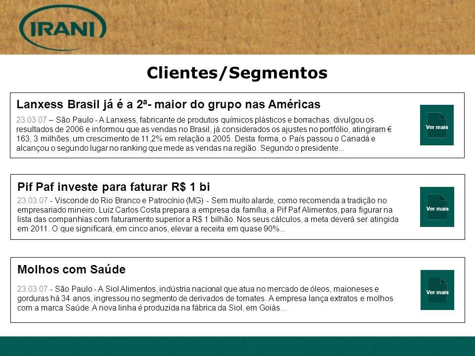 Clientes/Segmentos Ver mais. Lanxess Brasil já é a 2ª- maior do grupo nas Américas.