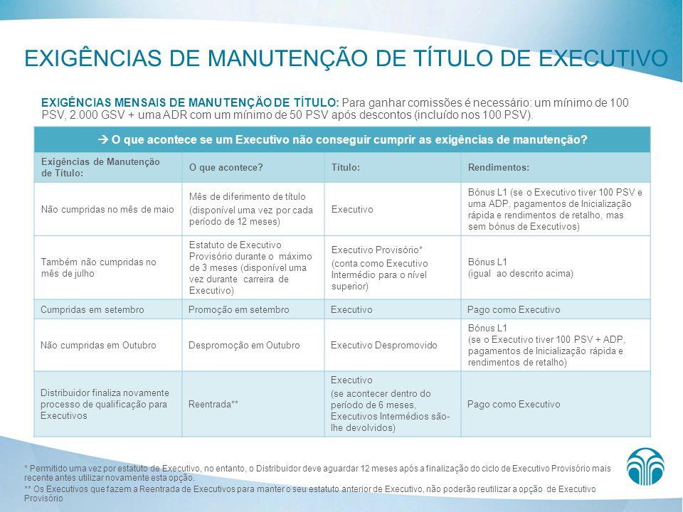 EXIGÊNCIAS DE MANUTENÇÃO DE TÍTULO DE EXECUTIVO