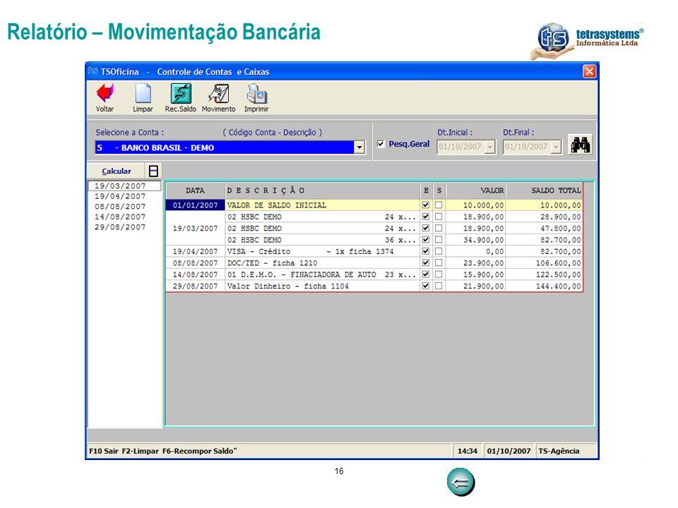 Relatório – Movimentação Bancária