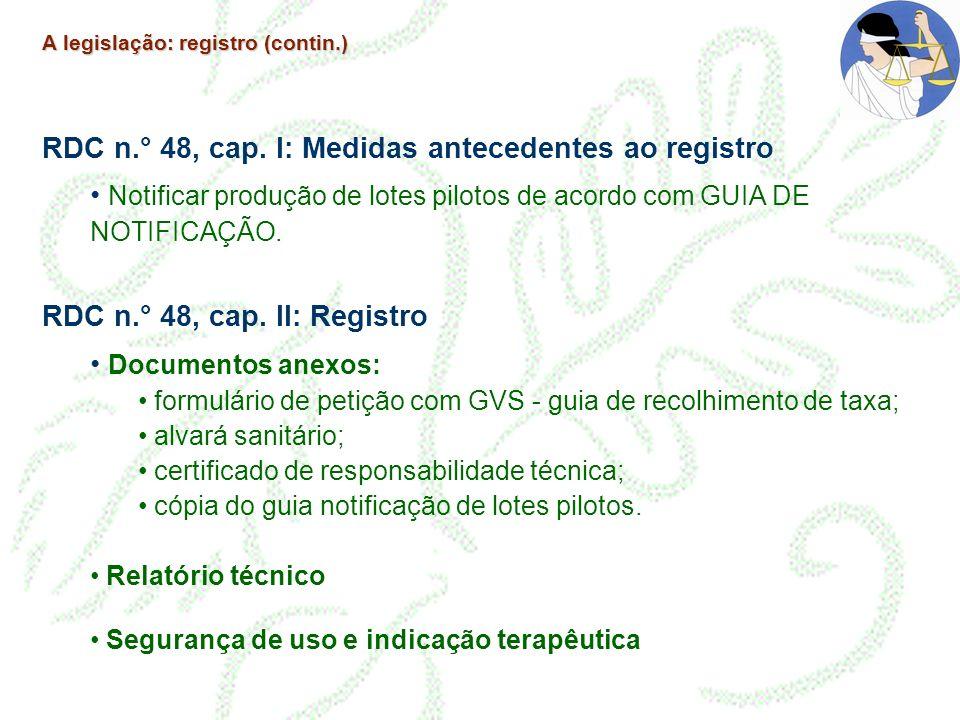RDC n.° 48, cap. I: Medidas antecedentes ao registro