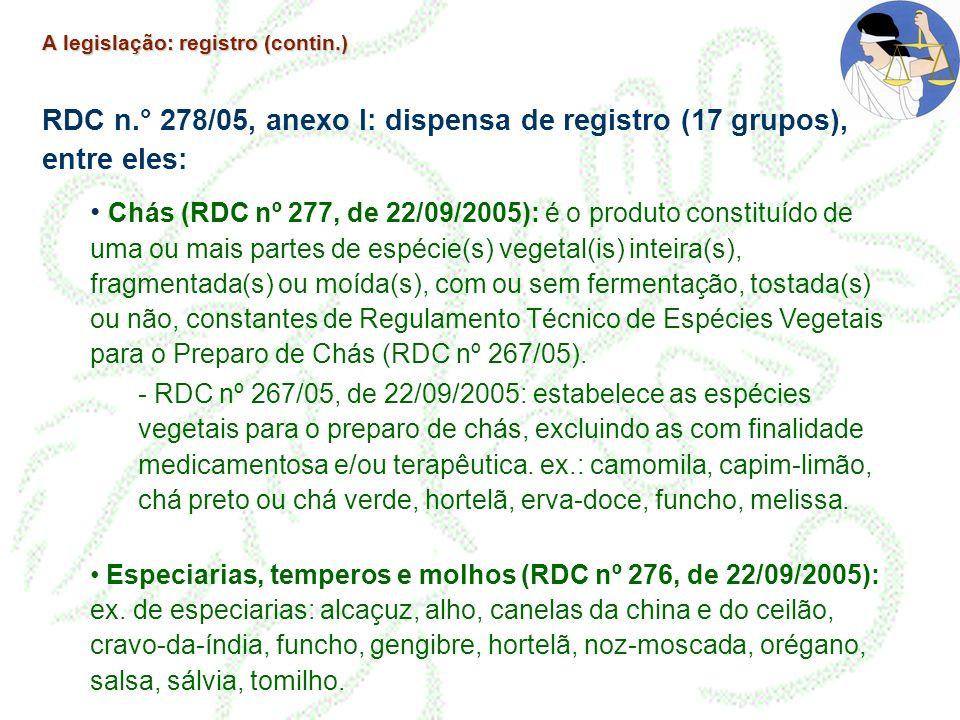 RDC n.° 278/05, anexo I: dispensa de registro (17 grupos), entre eles: