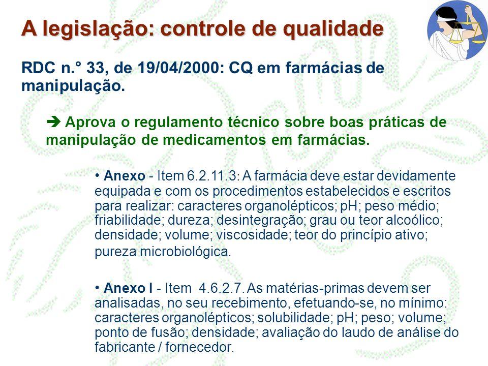 A legislação: controle de qualidade