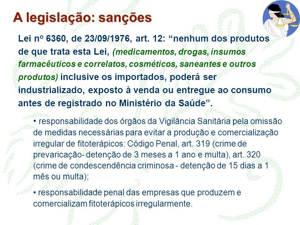 A legislação: sanções