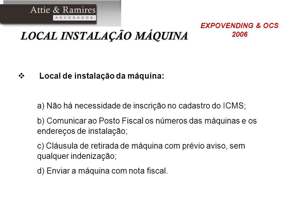 LOCAL INSTALAÇÃO MÁQUINA