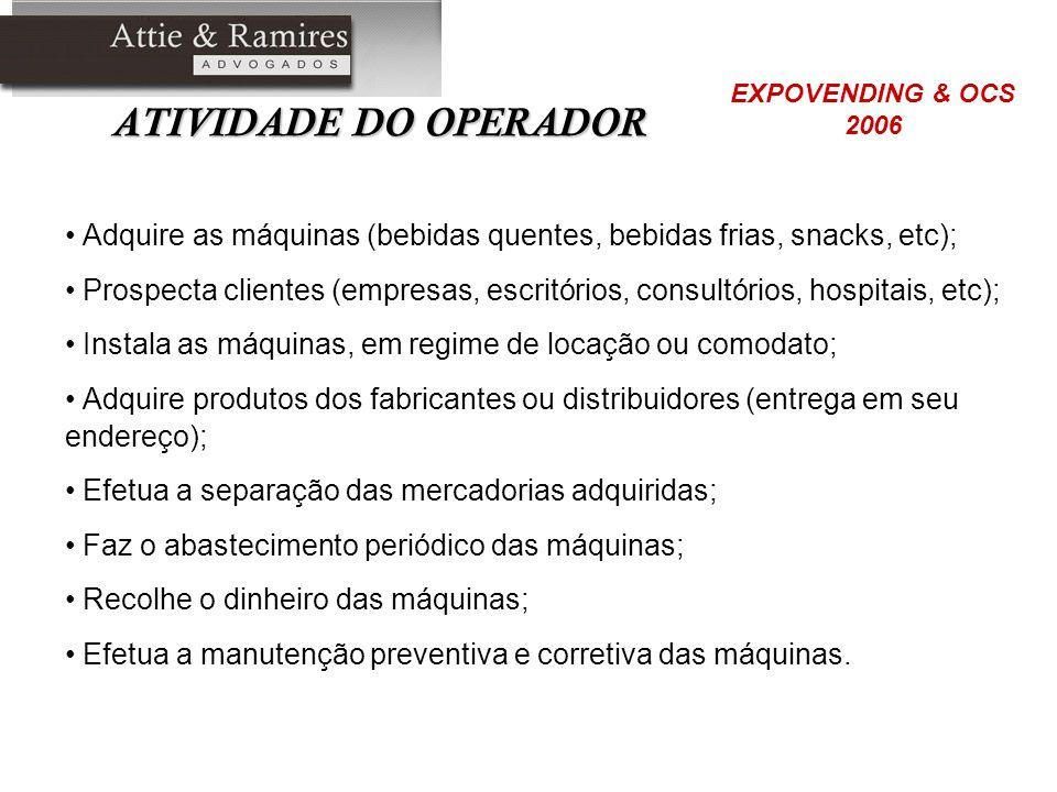 ATIVIDADE DO OPERADOR EXPOVENDING & OCS. 2006. Adquire as máquinas (bebidas quentes, bebidas frias, snacks, etc);