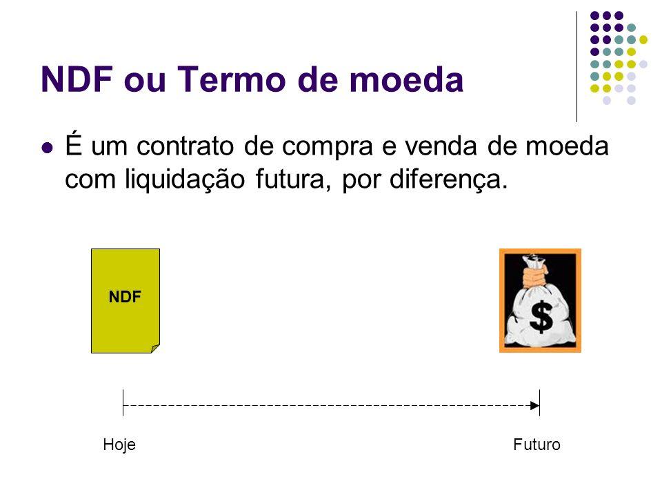 NDF ou Termo de moeda É um contrato de compra e venda de moeda com liquidação futura, por diferença.